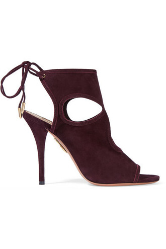 sexy sandals suede burgundy shoes