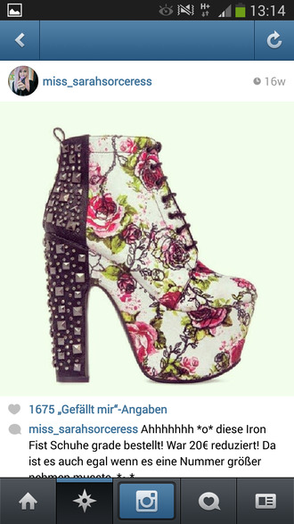 shoes iron fist iron fist heels high high heels plateau platform shoes lace black white rose pink green roses flowers studs studded ankle boots booties floral