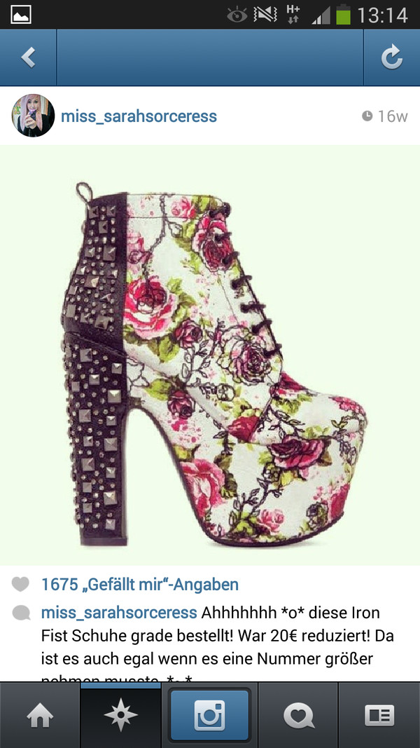 shoes shoes iron fist iron fist heels high high heels plateau platform shoes lace black white rose pink green roses flowers flowers studs studded ankle boots booties floral