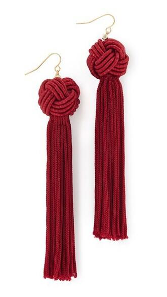 tassel earrings burgundy jewels