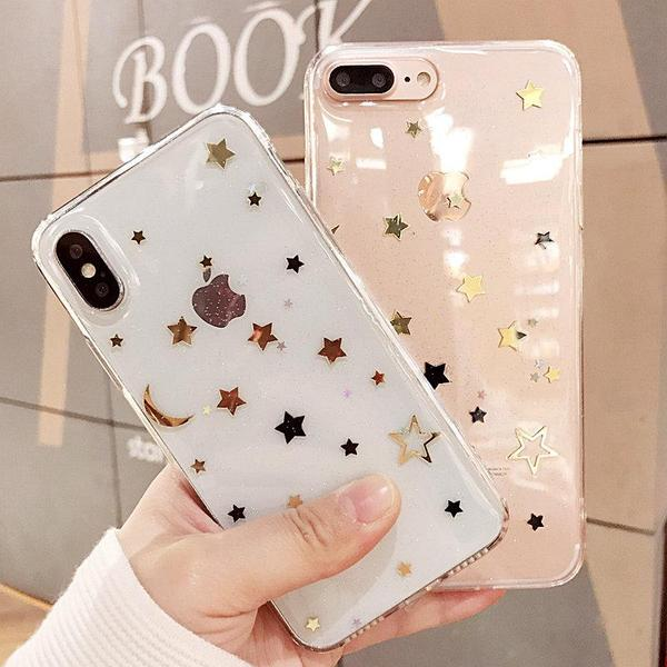 GOLDEN STARS NIGHT SKY TRANSPARENT SILICONE IPHONE COVER CASE