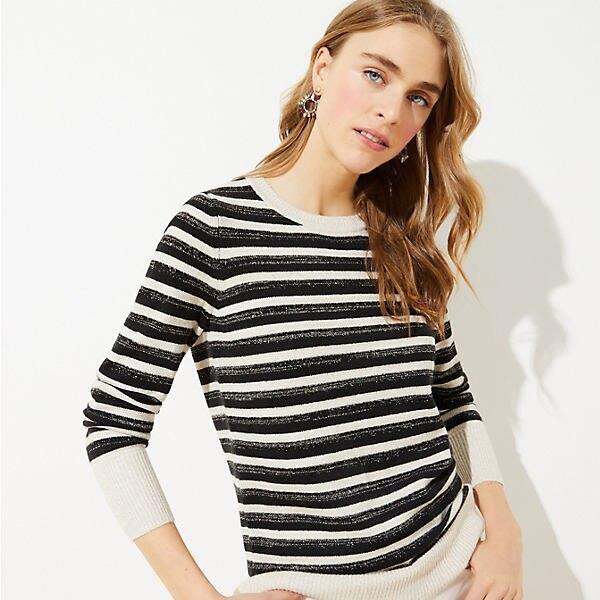 LOFT Petite Shimmer Cuff Sweater