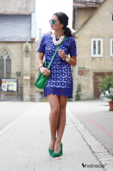 Royal Blue Round Neck Short Sleeve Lace Scallop Hem Dress - Sheinside.com