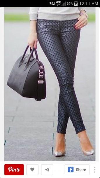 pants blue pants bag bags for women satchel bag handbag black bag pants blue patterned