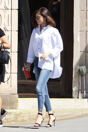 shirt,jeans,sandals,denim,selena gomez,streetstyle,spring outfits,shoes