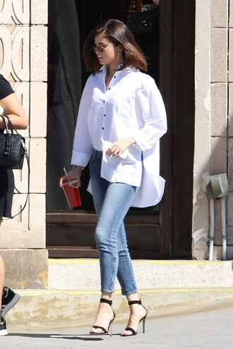 shirt jeans sandals denim selena gomez streetstyle spring outfits shoes