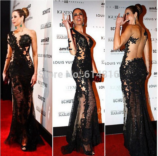 sexy evening dress lace dress black sexy dress sheer prom dress prom dress