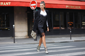 the mysterious girl blogger shirt dress jacket bag shoes jewels