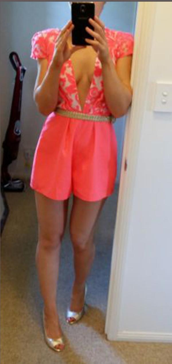 dress neon clothes jumpsuit romper v neck shorts floral