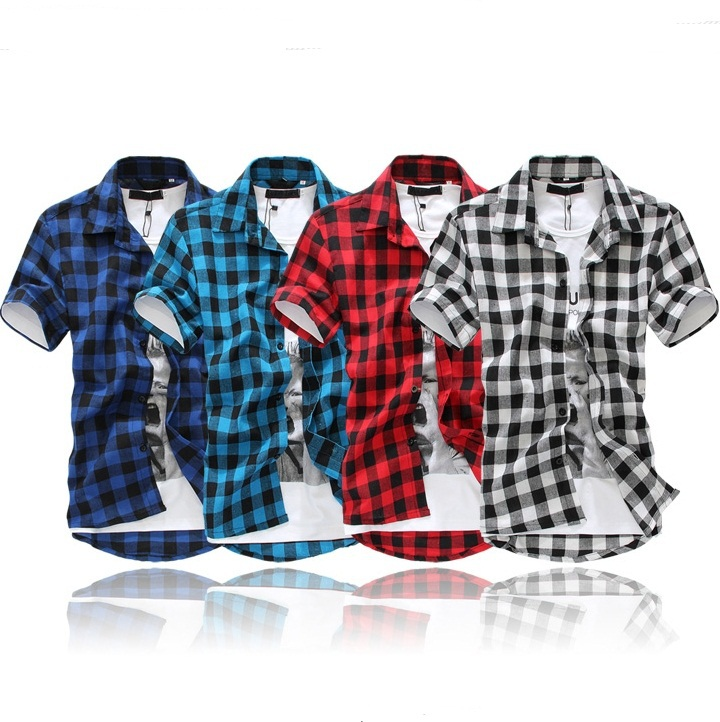 4  Colors   New   Fashion Mens  Short Sleeve Grid Casual shirts Asian   SIZE: M XXL N10-in Casual Shirts from Apparel & Accessories on Aliexpress.com