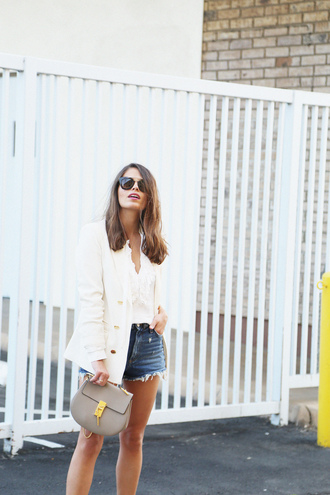 seams for a desire blogger jacket bag white top white jacket denim shorts mini bag nude bag