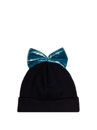 bow embellished hat beanie navy