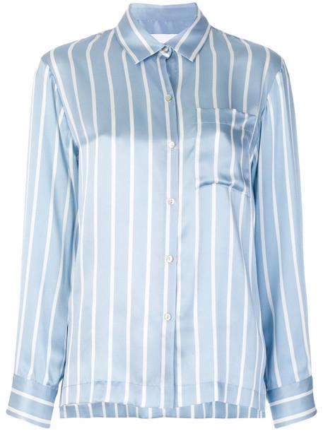 Asceno shirt women blue silk top