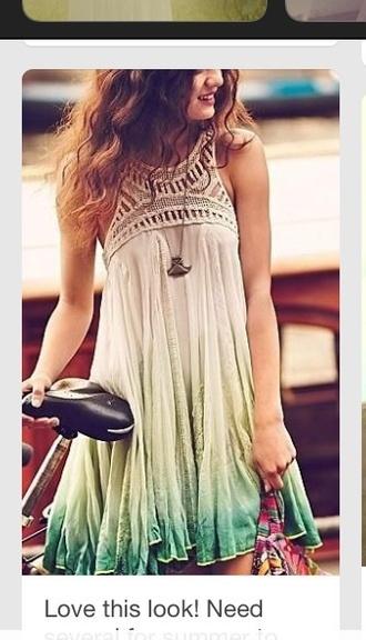 dress ombre boho dress bohemian dress tirquoise