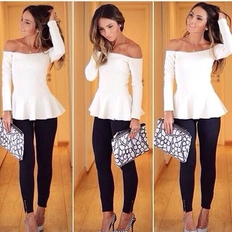 high waisted black and white t-shirt summer outfits top style bag high waisted pants high heels jewels necklace skinny pants classy party outfits streetstyle winter outfits streetwear sexy denim shirt peplum