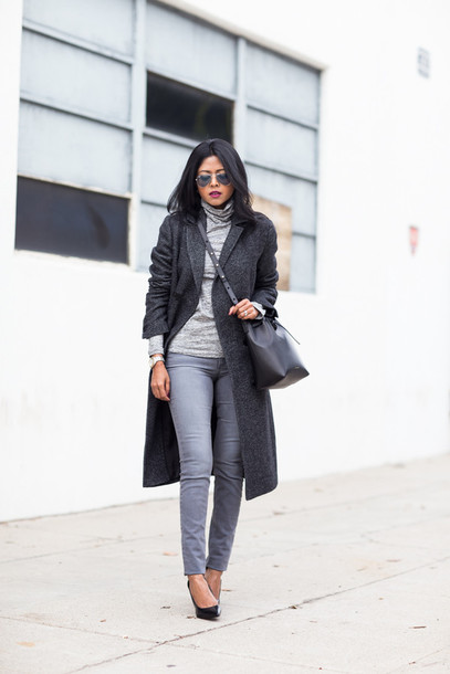 walk in wonderland blogger coat grey jeans charcoal long coat