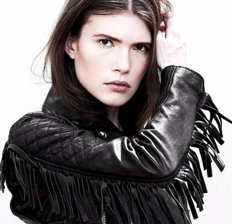 jacket dsquared2 glamour glamour magazine glamour russia designer rock leather jacket biker jacket black leather jacket black leather black leather luxury high end model fall outfits trendy fringes quilted casual fringed jacket
