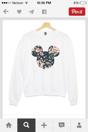 jacket,forever 21,top,floral,sweater,white,micky mouse shirt,disney,white sweater,style,shirt