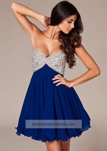 Chiffon Strapless Royal Short Beaded Top A-line Prom Dress [royal short prom dress] - $141.00 : Fashion Cheap Prom Dresses, Formal, Homecoming Dresses - DressPromFashion