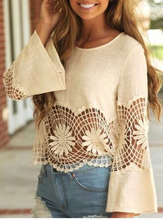top boho cream lace cute girly summer flowers crop tops long sleeves crochet