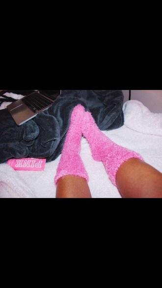 socks fluffy victoria's secret pink