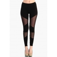 OMG Sheer Diagonal Mesh Leggings - Black