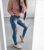 jeans,ripped jeans,high waisted,blue ripped skinny jeans,shirt,ripped,denim,sweater,pink