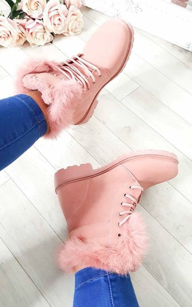 shoes pink fur boots fur boots winter boots faux fur