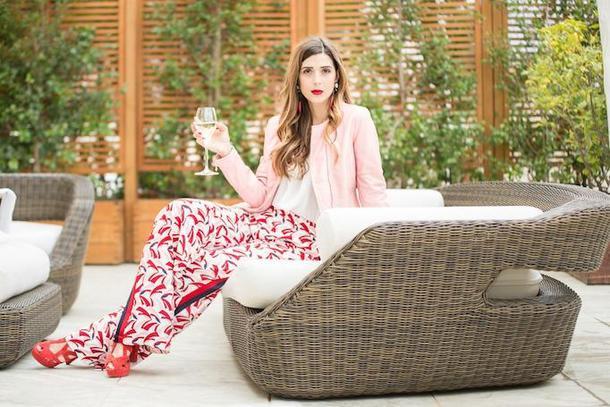 cosamimetto blogger jacket pants shoes jewels bag pink jacket sandals printed pants