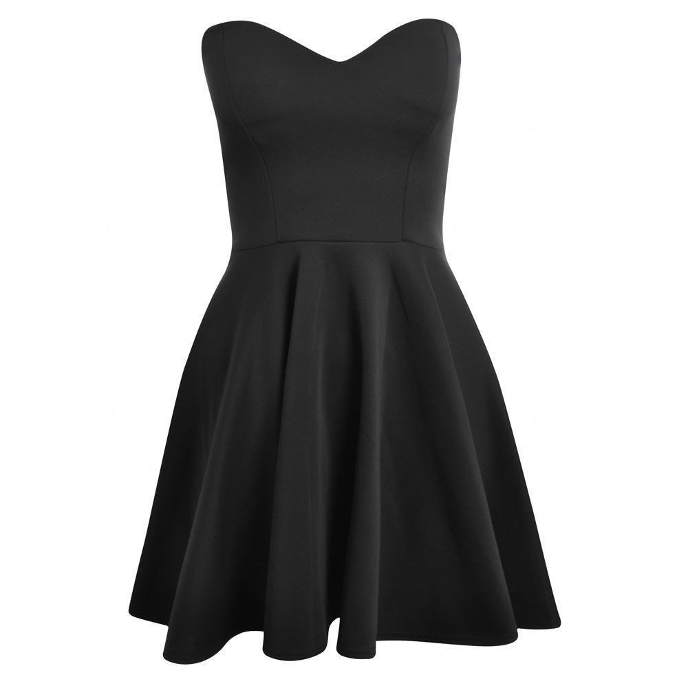 Marilyn sweetheart skater dress in black