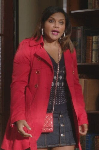 coat red navy mindy kaling mindy lahiri the mindy project denim plaid skirt skirt shoes