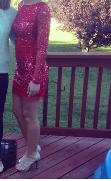 outfit cute red dress homecoming dress sparkly heels, high heels lovely cute dress vintage necklace