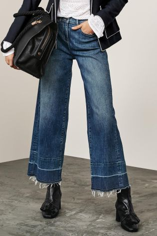 c2c45fdfa8d60 Buy Dark Blue Wide Leg Ankle Length Jeans from the Next UK online shop