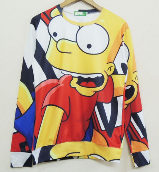 sweater crewneck sweatshirt bart simpson all over print 3d