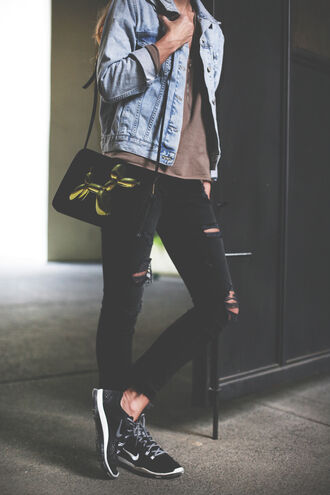happily grey jacket shoes bag sweater the kooples top shop h&m blogger denim jacket ripped jeans nike hipster casual denim fall outfits grunge jeans black jeans destroyed skinny jeans