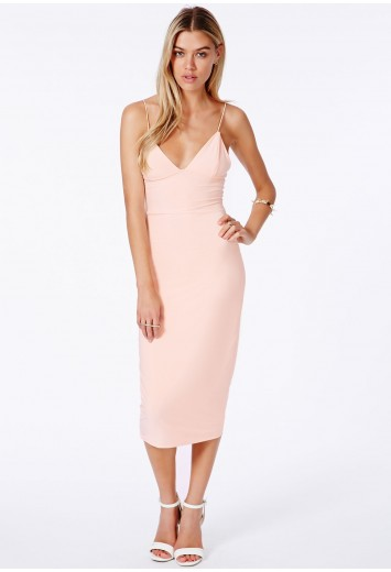 Missguided - Elodia Slinky Strappy Midi Dress In Nude