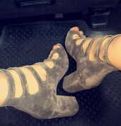 shoes,gray shoes,tana mongeau,heels,suede,suede shoes,peep toe boots,high heels boots,grey boots