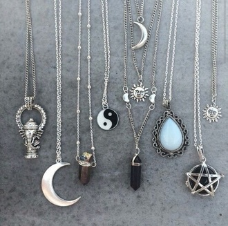 jewels sun moon necklace gemstone yin yang moon moon and sun stone necklaces silver jewelry indie blogger