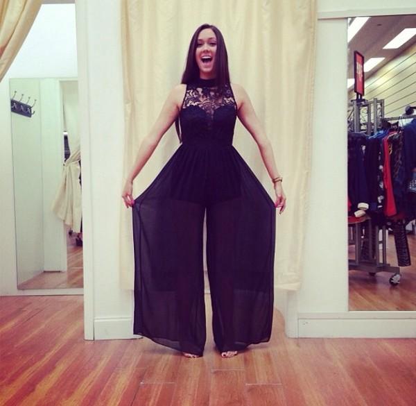 pants jumpsuit chiffon lace romper jumper bodysuit