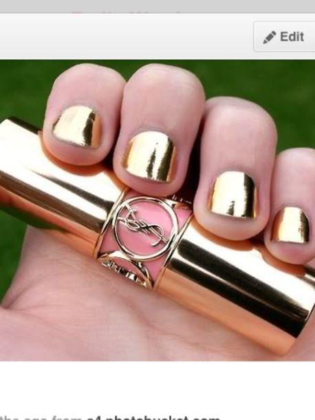 nail polish, nails, mirror, cool, silver, gold - Wheretoget