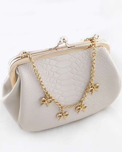 White Crocodile Gold Chain Bow Bag - Sheinside.com