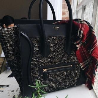 bag celine bag celine designer bag leather bag infinity scarf black