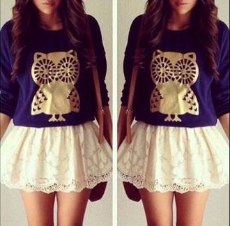 skirt owl blue white