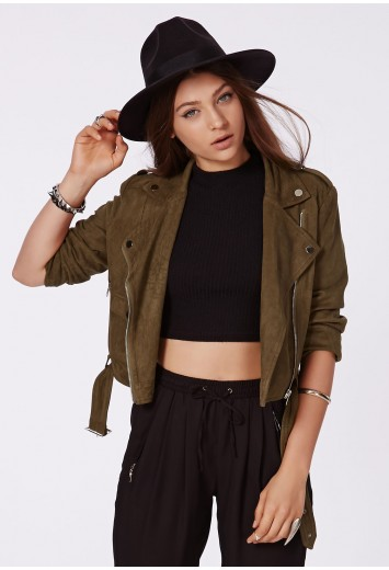 Zazula faux suede biker jacket khaki