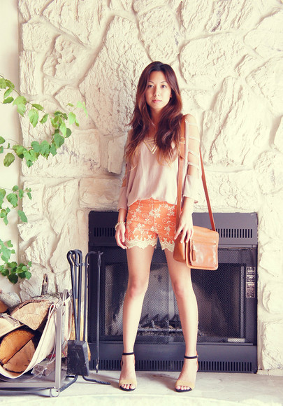 orange shorts shorts fashion summer high heels lace shorts persunmall shorts persunmall persunmall heels
