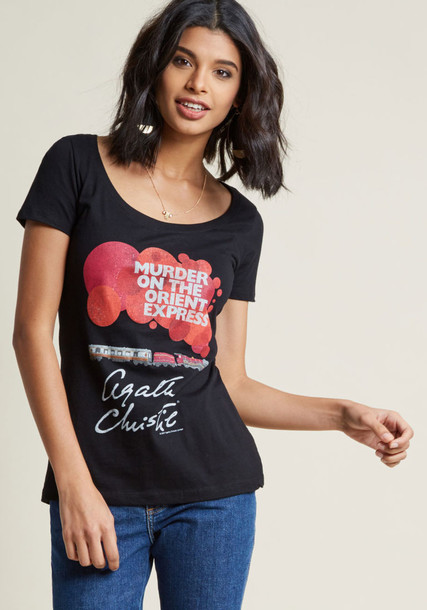 L-1211 classic love fit white cotton print black red top