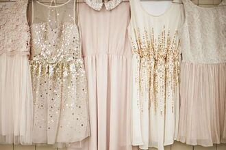 dress vintage vintage dress girly sparkling dress sparkling pearls glitter basic party cute neutral colors wonderful