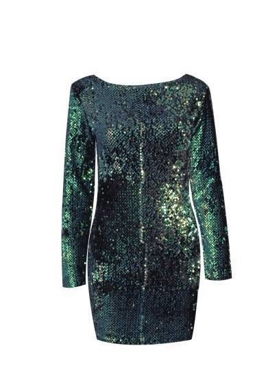 Modern green sequin long sleeve backless dress sizes s, m ,l china sizing