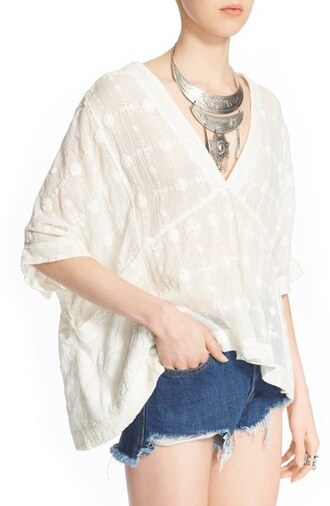 blouse lace blouse free people white blouse flowy flowy blouse