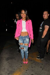 jacket,pink,pumps,christina milian,ripped jeans,jeans